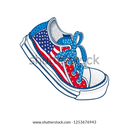 6f62aeb63f55 All American dancing sneaker vector featuring USA flag