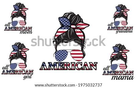 All American Grandma Mom Mama American Flag Messy Bun Hair Style Vector illustration