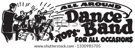 All Around Dance Band - Retro Ad Art Banner