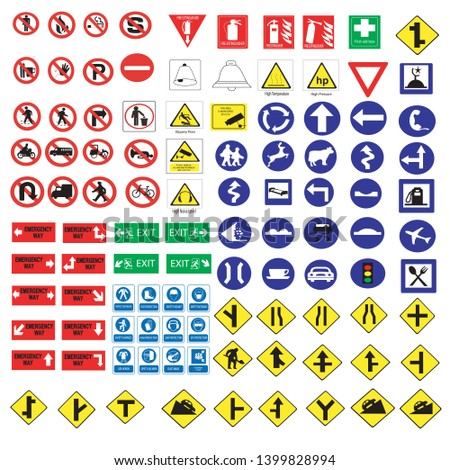 All Collection of warning, mandatory, prohibition and information traffic signs, Vector illustration #1399828994