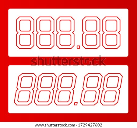 All digit price template. 88.88 shape of number for writing or drawing cost. Store price label for retail. Product sale sign. Digital tag mockup. Vector illustration design.