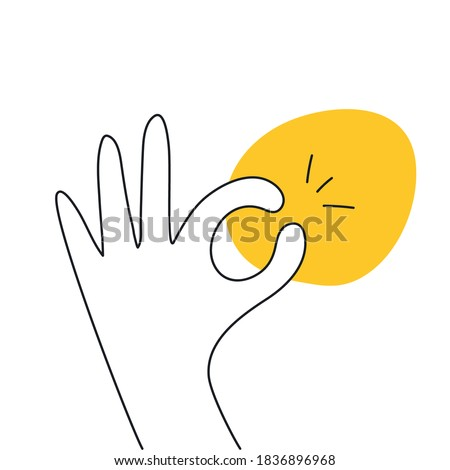 All done, everything is all right or great. Hand OK sign. Communication gestures concept. Flat clean linear vector illustration on white Сток-фото ©