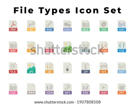 All File Types Icon set You Need, File Formats Icon Set, File Extension, Include Avi, mb3, mb4, html, Zip, js, FLA, CSV. Xml, PPT, JSON, pdf, Ai, Psd, exe, txt And dbf, Vector Eps file  Foto d'archivio ©
