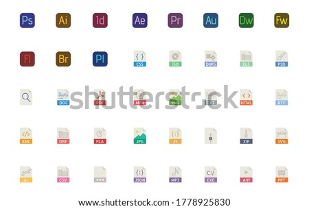 All File Types Icon You Need, All Adobe Programes, Avi, mb3, mb4, html, Zip, js, FLA, CSV. Xml, PPT, JSON, Vector Eps file