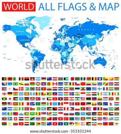all flags and world map vector