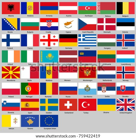 all flags of europe in
