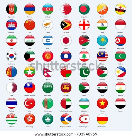 All flags of the countries of the Asia. Round glossy style.