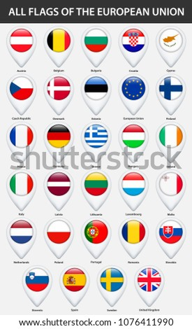 All flags of the countries of the European Union. Pin map pointer glossy style.