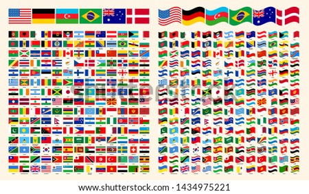 All Flags Of The World. All Around The World Flags with Names Collection, Set, Vector Illustration Simple Modern Flags. Country Symbols Shape. Straight and Wavy World Flags Vector Set