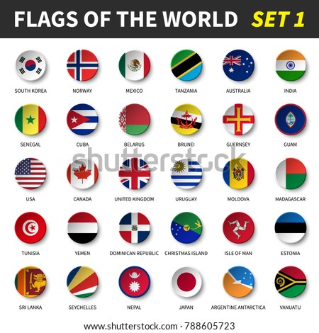 All flags of the world set 1 . Circle and concave design . #788605723