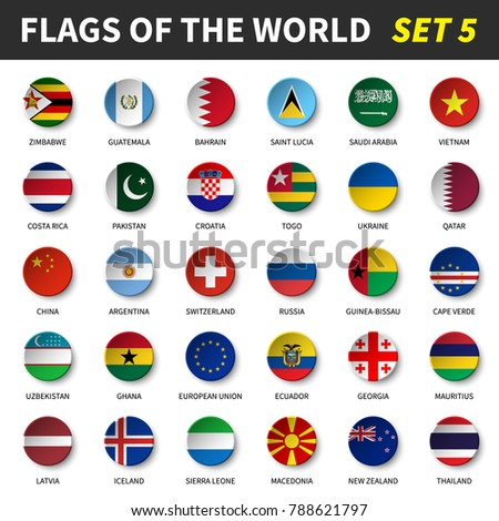 All flags of the world set 5 . Circle and concave design . #788621797