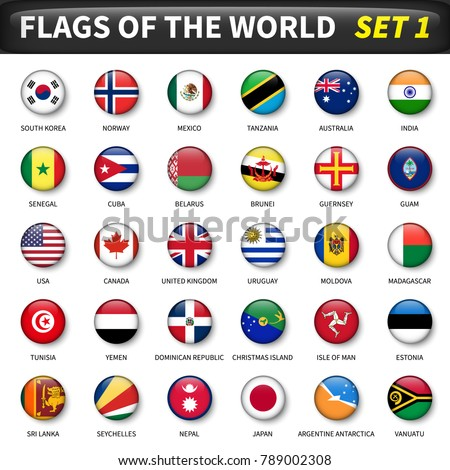 All flags of the world set 1 . Circle and convex design . #789002308