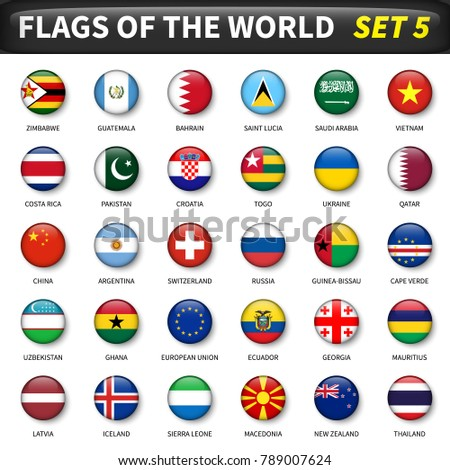 All flags of the world set 5 . Circle and convex design . #789007624
