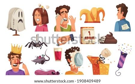 All fools day set of isolated icons with jokes vermins prank items with laughing human characters vector illustration Сток-фото ©