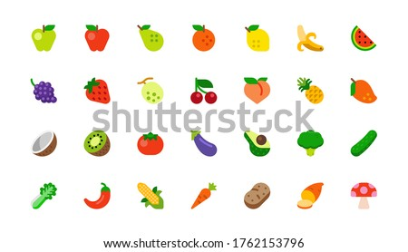 All Fruits Vector Icons Set. Vegetables, Vegetarian Foods. Fresh Organic Food Flat Illustrations, Emojis, Symbols, Stickers Collection