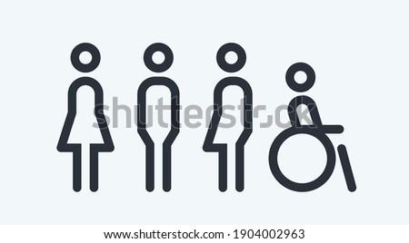 All gender restroom sign. Toilet line icon, linear style vector pictogram. WC gender symbol.  ストックフォト ©