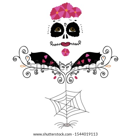 All Hallow's Eve - Eve is a Dia de los muertos inspired design made up of hand drawn sketches for Hallowe'en.