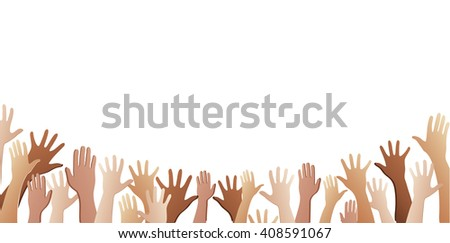 all hands up and background art vector