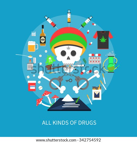 all kinds of drugs concept with