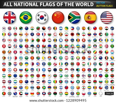 All national flags of the world . Circle convex button design . Elements vector .