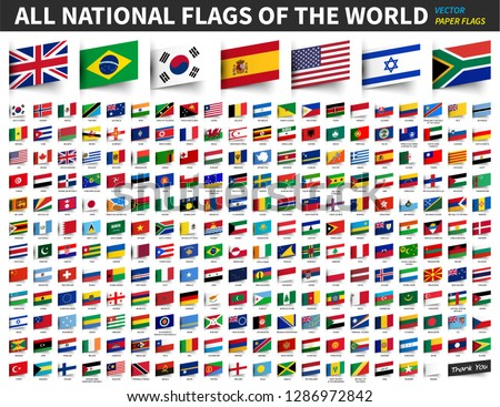 All national flags of the world . Inserted paper design .