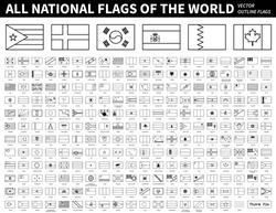 All national flags of the world . Outline shape design . Editable stroke vector .