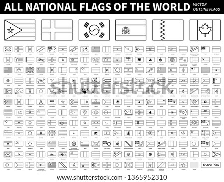 All national flags of the world . Outline shape design . Editable stroke vector .