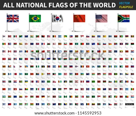 All national flags of the world . Realistic waving fabric with flagpole and shadow design . Vector .