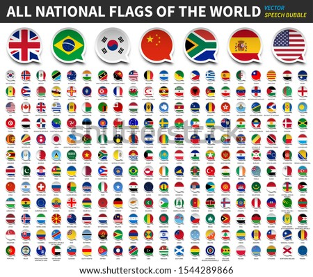 All national flags of the world . Speech bubble flag design . White isolated background . Element vector .