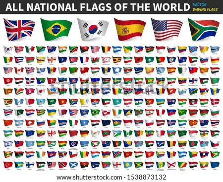 All national flags of the world . Waving flag design . White isolated background . Element vector .