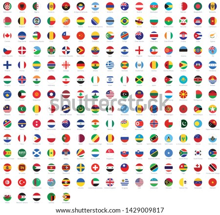 All national flags of the world with names. Rounded flags, circular design. High quality vector flags isolated on white background
