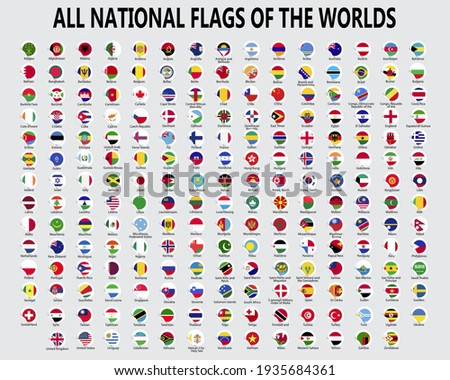 All national flags of the worlds.  Country Flag Sticker icon with white background.