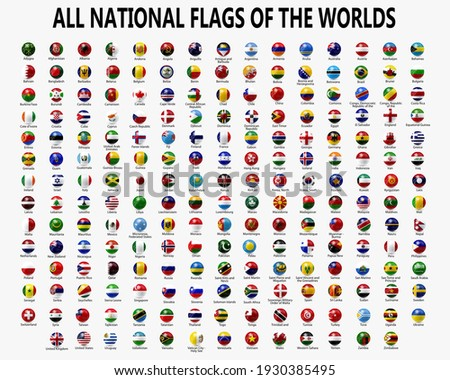 All national spherical flags.  Rounded flags, circular design. High quality vector flags isolated on white background.