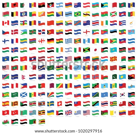 all national waving flags from
