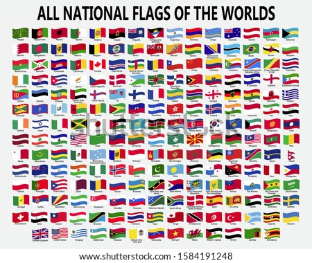 All national waving flags of the worlds. Foto stock ©