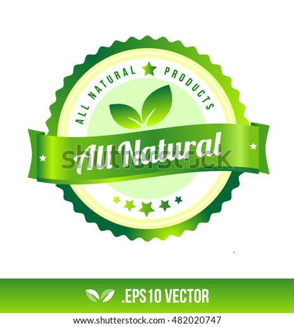 All natural badge label seal stamp logo text design green leaf template vector eps
