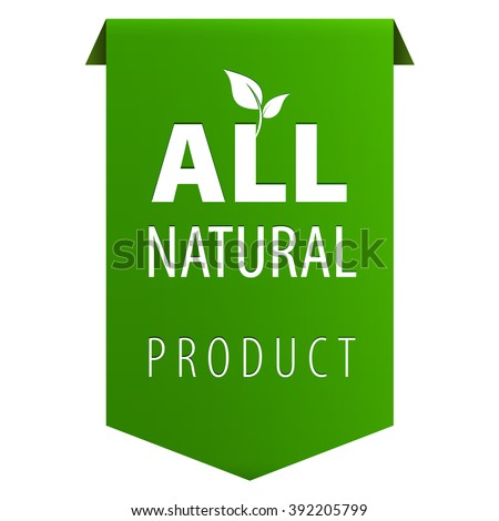 All Natural Organic products green tag ribbon banner icon isolated on white background. Vector illustration