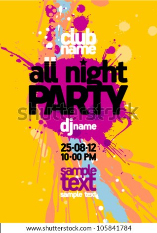 All-Night-Party Design-Vorlage mit Platz für Text.