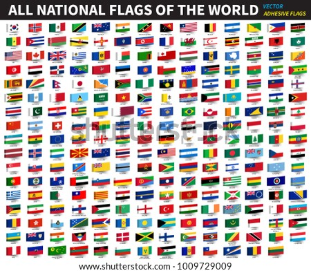 All official national flags of the world . Adhesive design . Vector .