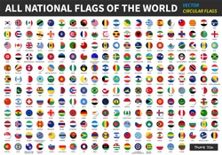 All official national flags of the world . circular design . Vector .