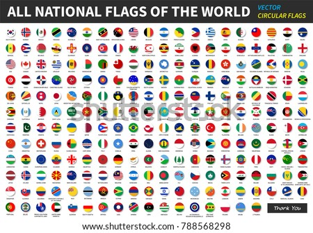 All official national flags of the world . circular design . Vector . #788568298