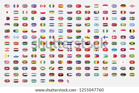 All official national flags of the world . Square design . Vector . Eps 10