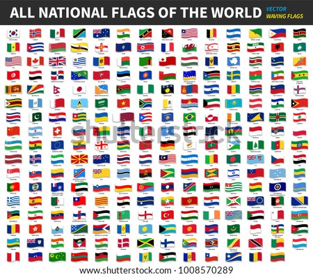 All official national flags of the world . Waving design . Vector .