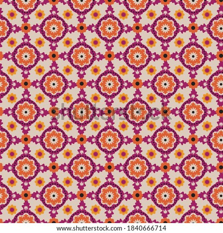 All over geometric design. medallion, foulard, repeat. Perfect for Bedding, Kitchen Tabletop and window treatments. Photo stock ©