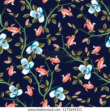 all over vector flowers pattern on navy background