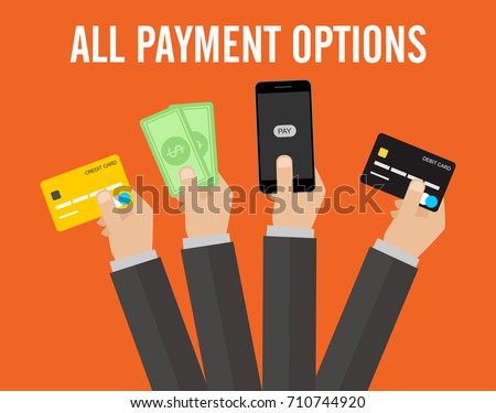 All payment options debit card, credit card, online, cash vector