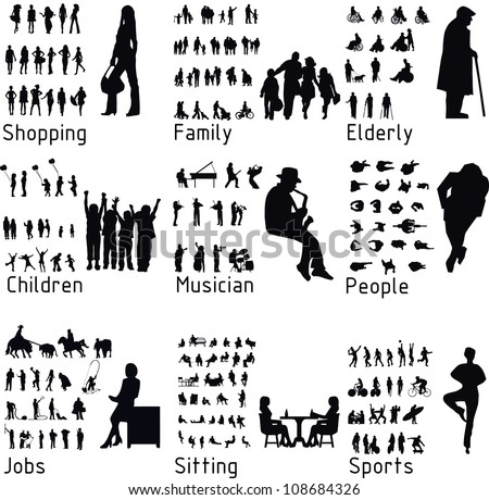 All people activity silhouettes. Vector illustration