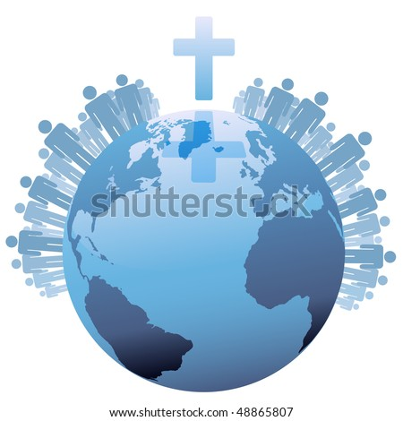 All people of the world or the  Global Christian Population of Earth under a Cross.