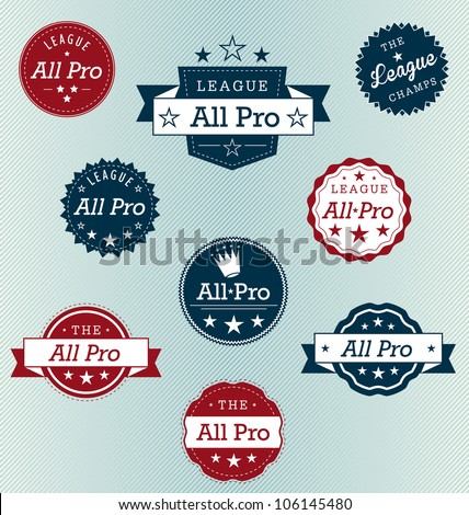 all pro sports label vector set