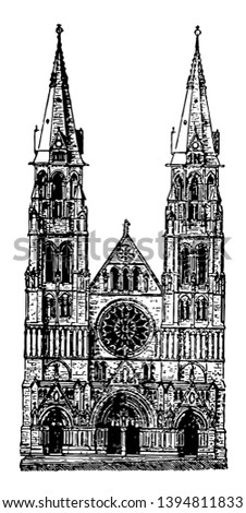 All Saints Cathedral at Albany gothic steeples Cathedral Elk Street vintage line drawing or engraving illustration.